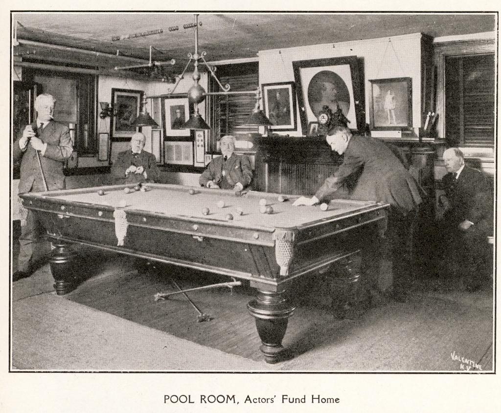 The Pool Room at The Actors Fund Home, Staten Island, c. 1917. | Photo by The Actors Fund