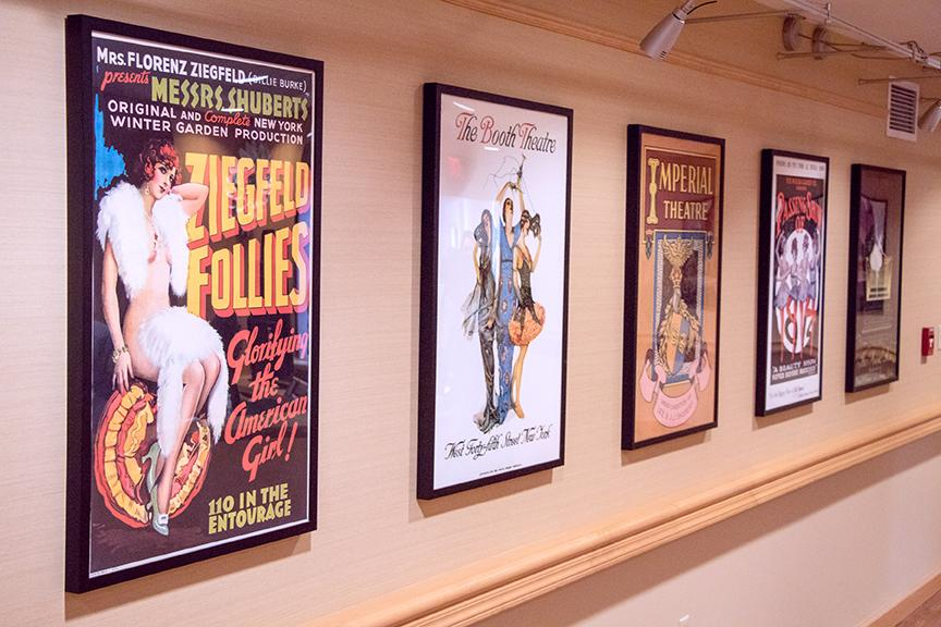 Artwork on our walls pays homage to the history of our residents' work in show business. These posters are courtesy of The Shubert Archives. | Photo by Don Pearse Photographers, Inc.