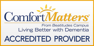Certification for Comfort Matters from Beatitude Campus, Living Better with Dementia, Accredited Provider